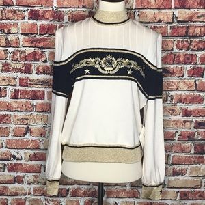 St. John Gold Navy Embroidered Nautical Sweater